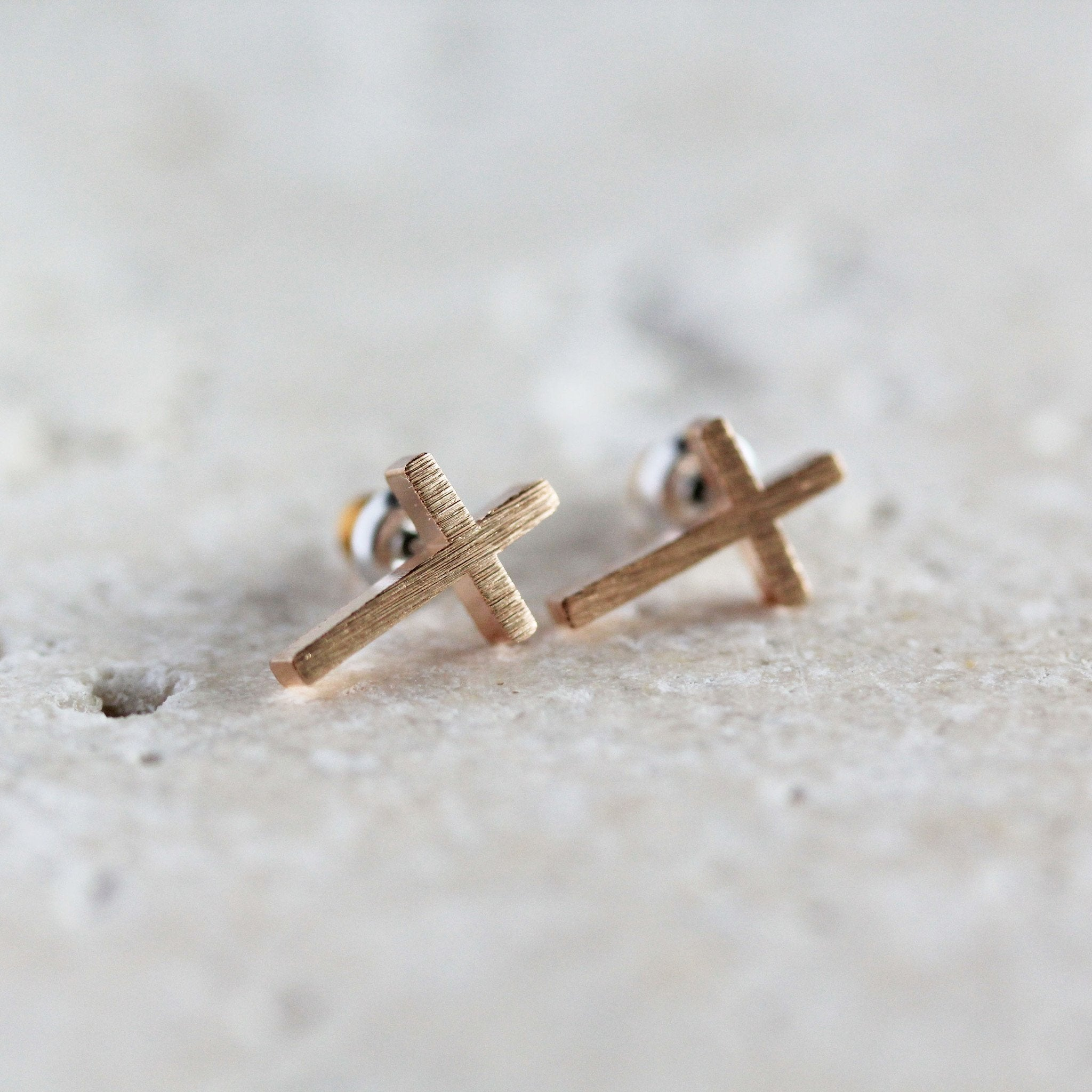 Rose Gold Simple Cross Earrings