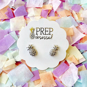 Silver Mini Pineapple Stud Earrings
