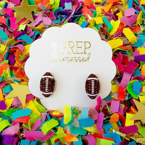 Pave Football Stud Earrings