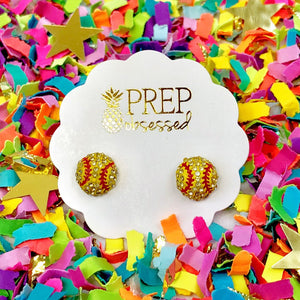 Pave Softball Stud Earrings