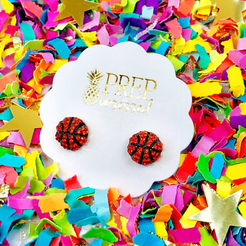 Pave Basketball Stud Earrings