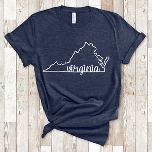 Virginia Outline T-Shirt (multiple colors)
