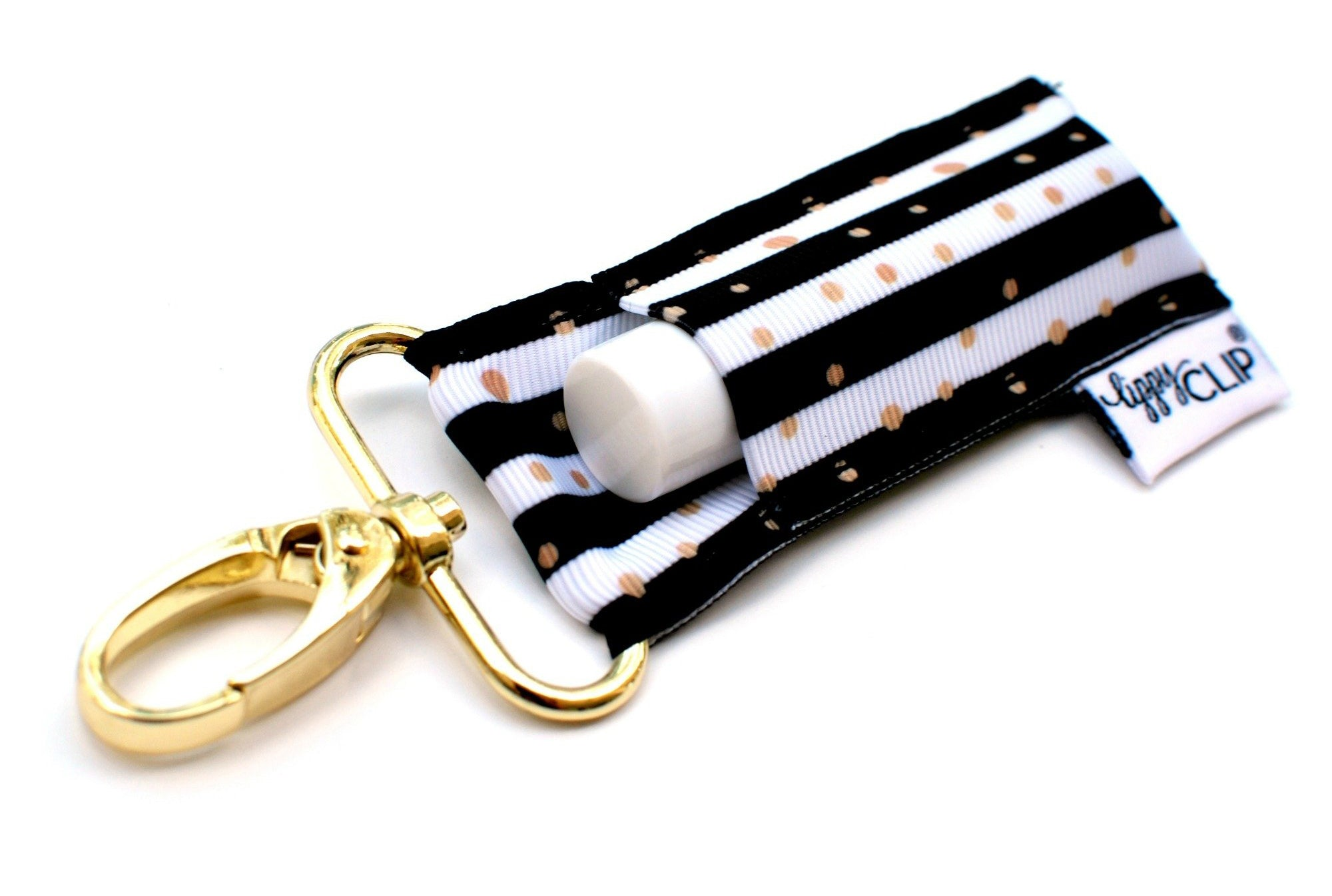 Striped Gold Dots LippyClip® Lip Balm Holder