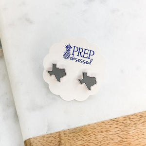 State Of Texas Leather Stud Earrings - Grey