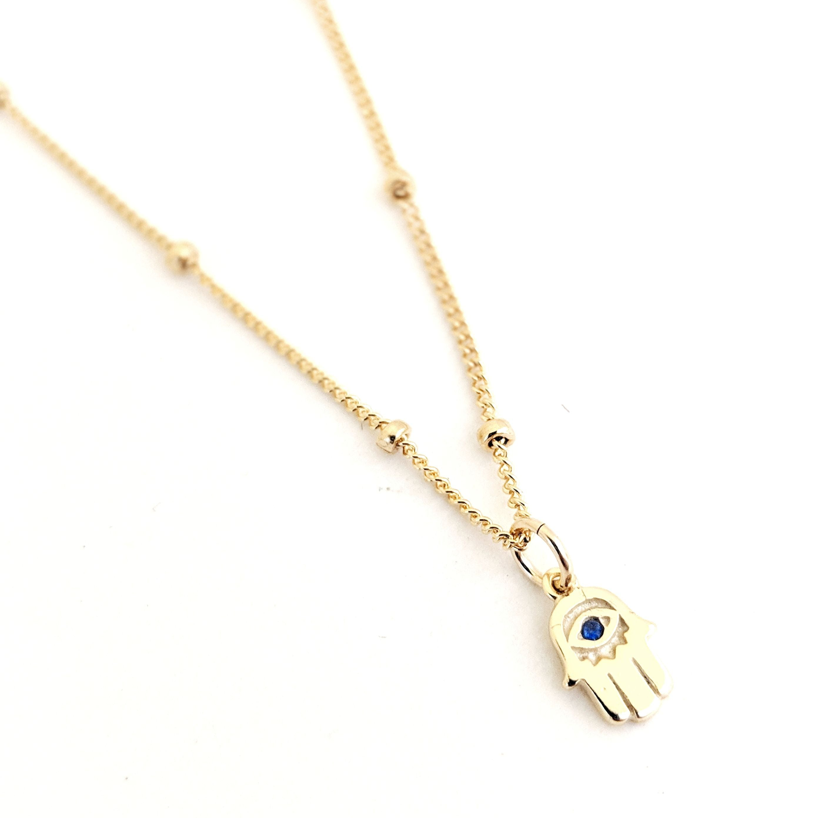Tiny Hamsa Cobalt Necklace