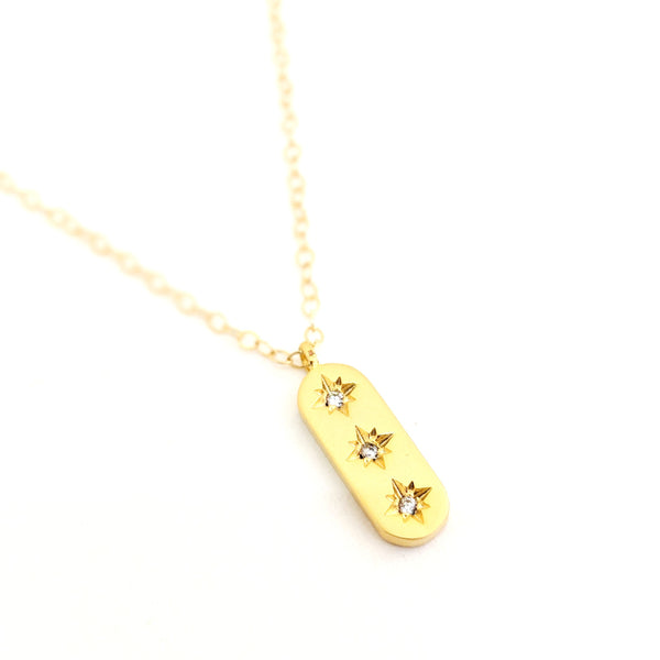 Gold Triple Star Crystal Necklace