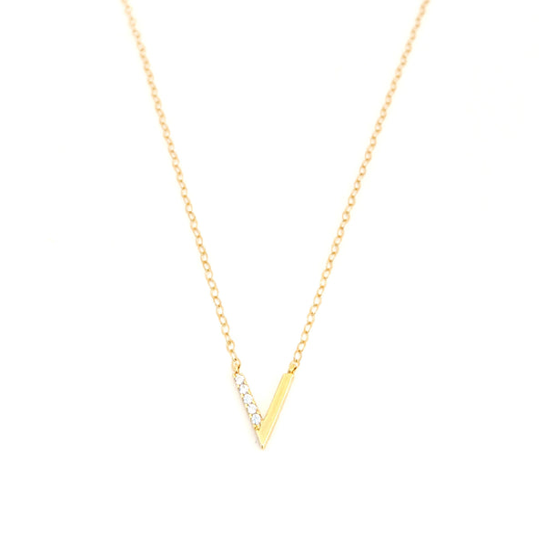 "Modern ""V"" Crystal Necklace"