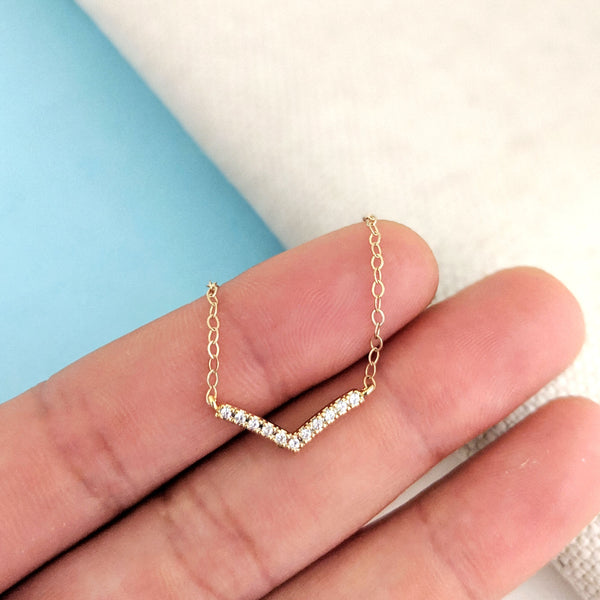 Curved Pavé Necklace