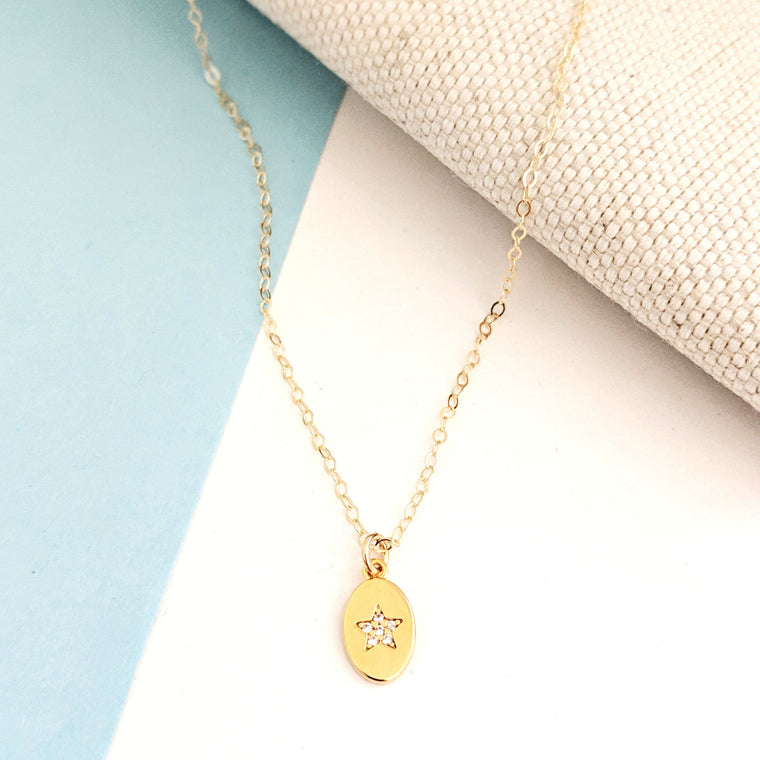Star Pavé Medallion Necklace