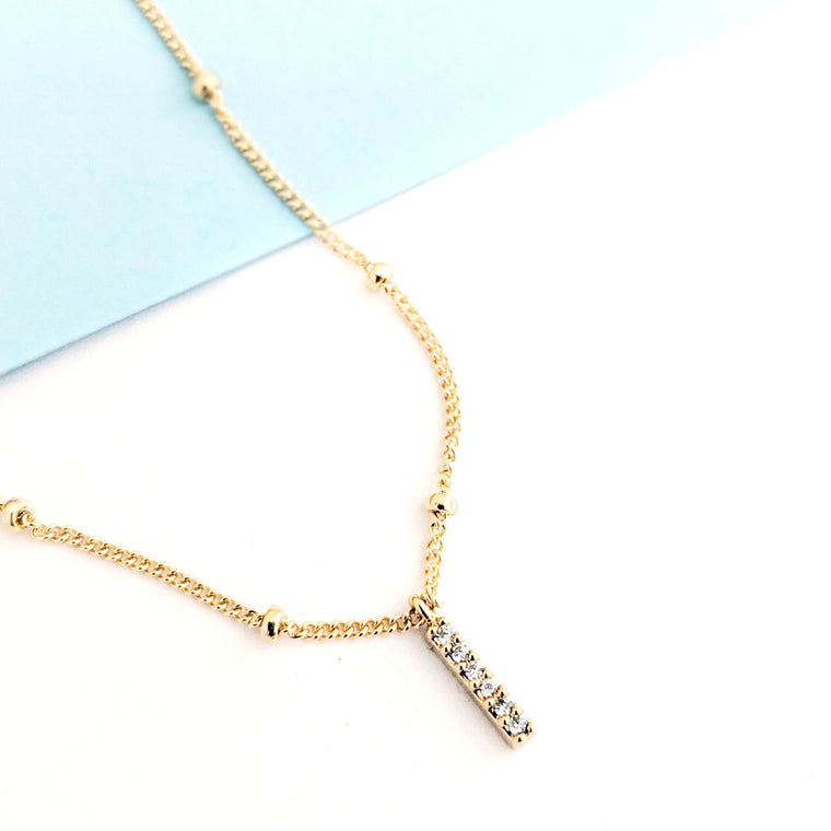 Tiny Bar Pavé Necklace