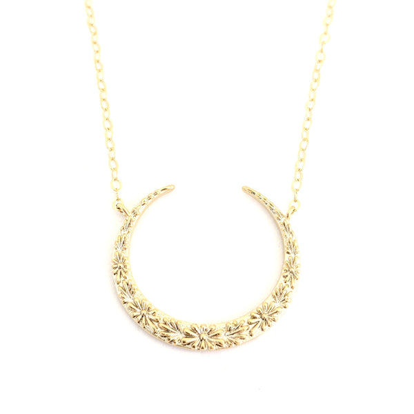 Reverse Floral Crescent Necklace