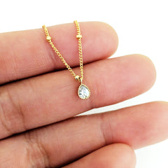Tiny Pavé Teardrop Necklace