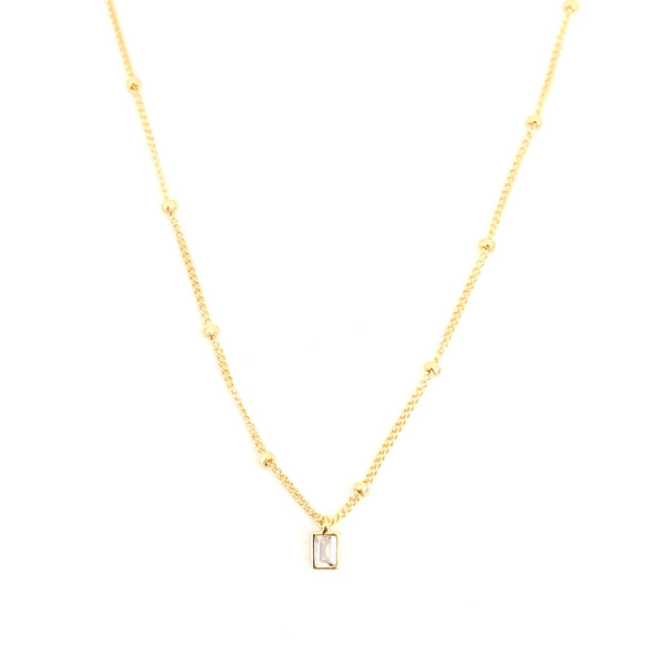 Tiny Rectangle Pavé Necklace