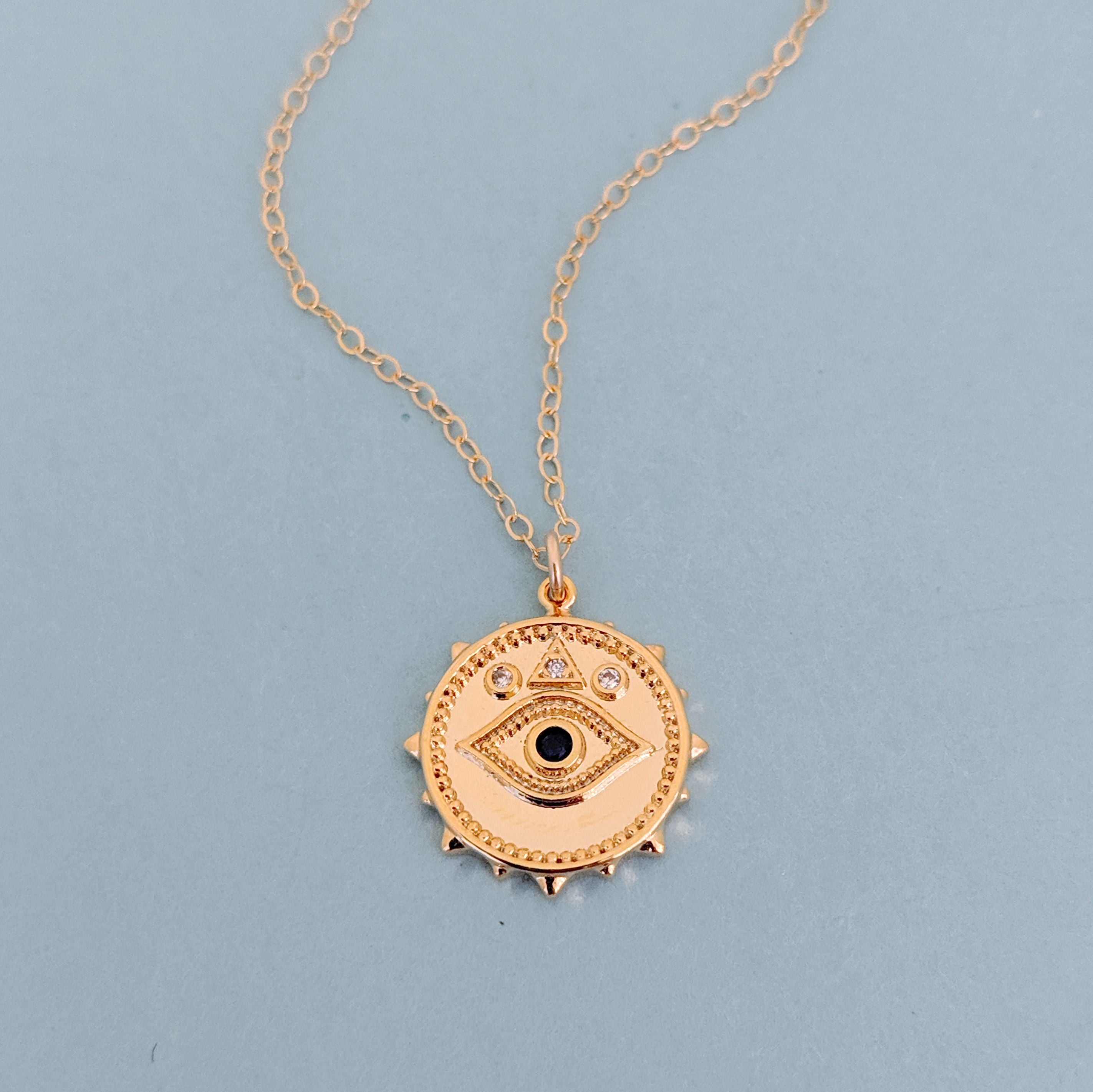 Pavé Evil Eye Coin Necklace