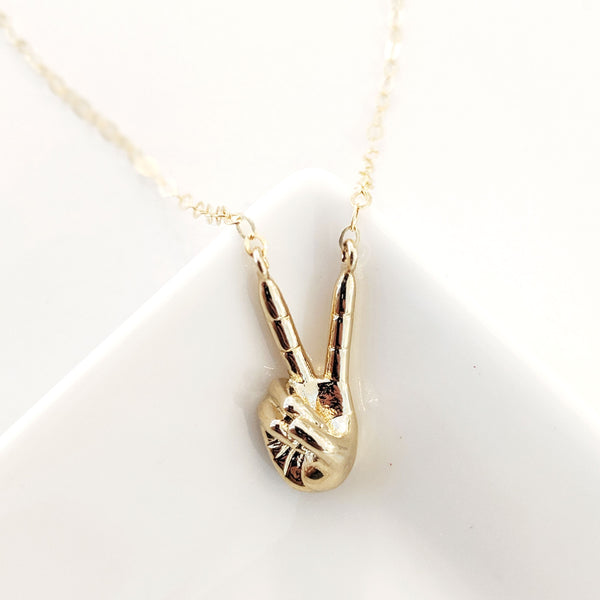 Peace Hand Necklace
