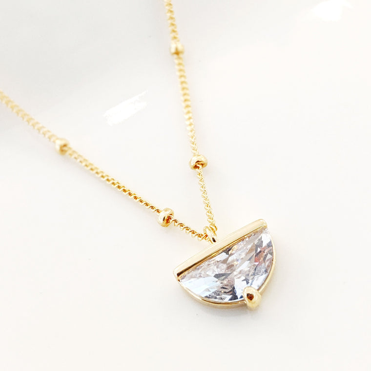 Large Half Crescent Crystal Necklace