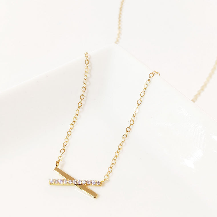 Crossed Pavé Bar Necklace