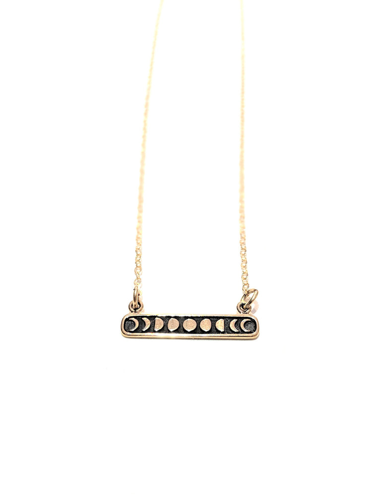 Phases of the Moon Gold Bar Necklace
