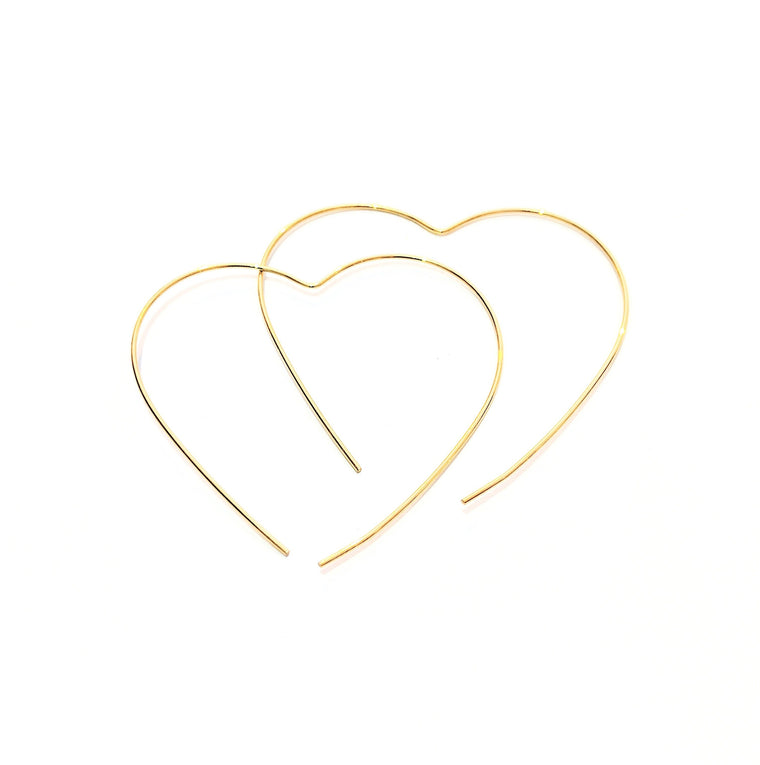 Wire Heart Hoop Earring