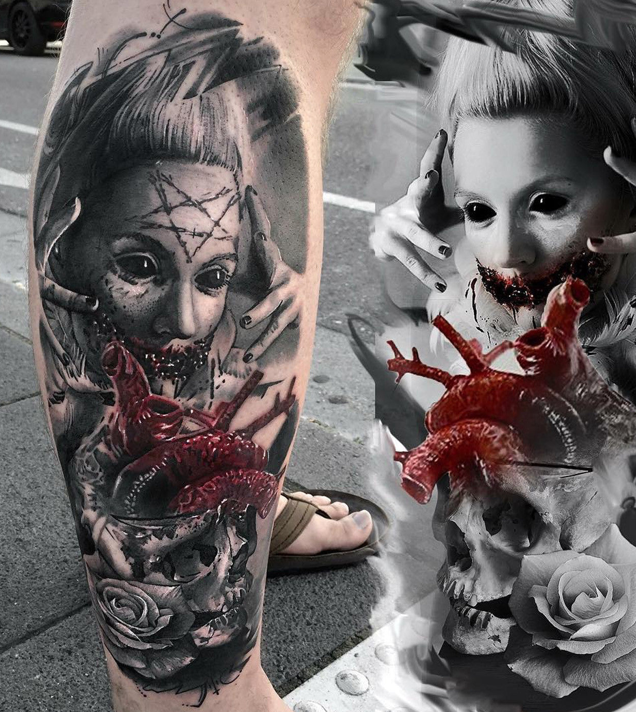tommy lee creepy doll tattoo black and grey