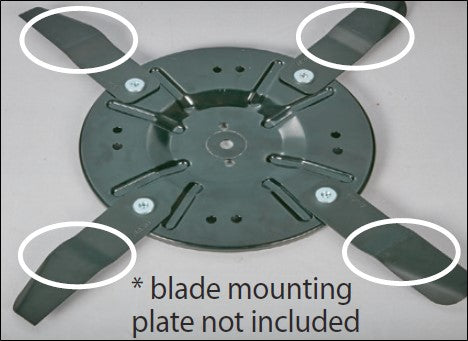 56979-BL / 10093-BL - 4 x Swing Blades to suit ALDI 56979 196cc Electric Start Lawn Mower (70059736), 10093 / SLM530 224cc Electric Start Lawn Mower (2019 MODEL ONLY)