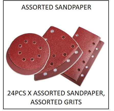 61865-ASSORTED - 24pcs X Assorted Sandpapers to suit 220W 3 in 1 Multi Purpose Sander (70059782)