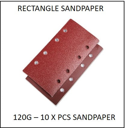 61865-120G-RS - 10 X 120G Rectangle Sandpaper to suit 220W 3 in 1 Multi Purpose Sander