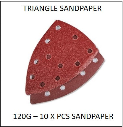 61865-120G-TS - 10 X 120G Triangle Sandpaper to suit 220W 3 in 1 Multi Purpose Sander