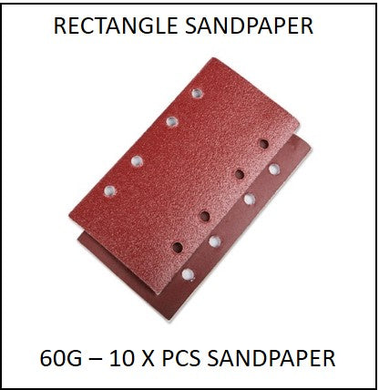 61865-60G-RS - 10 X 60G Rectangle Sandpaper to suit 220W 3 in 1 Multi Purpose Sander
