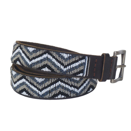 Zig Zag Belt | Black and Silver