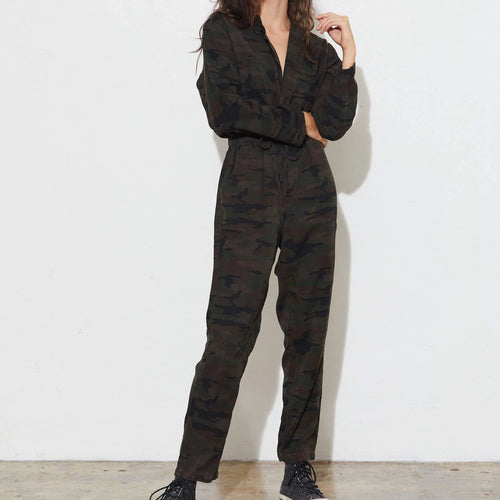 Alana Assymetric Jumpsuit | Old Green Camo