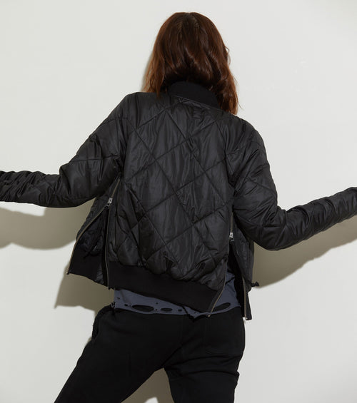 Neil Quilted Bomber Jacket | Black