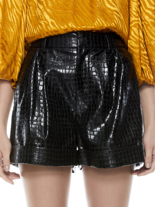Conry Vegan Leather Shorts | Black