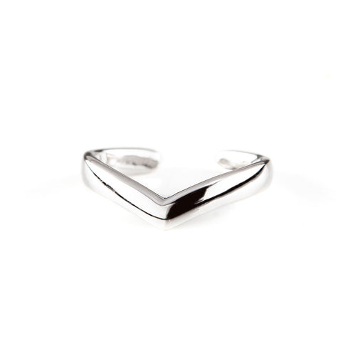 Solid V Ear Cuff | White Gold