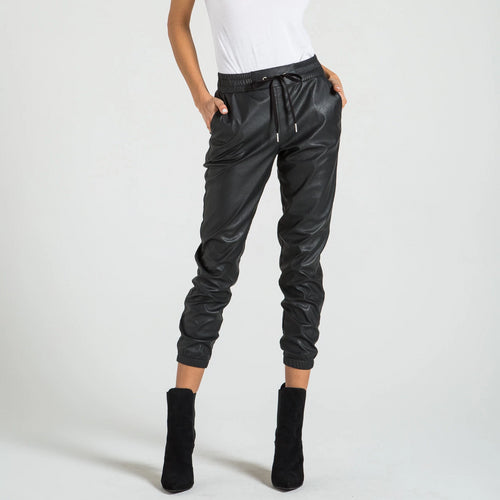 Scarlett Faux Leather Joggers | Black