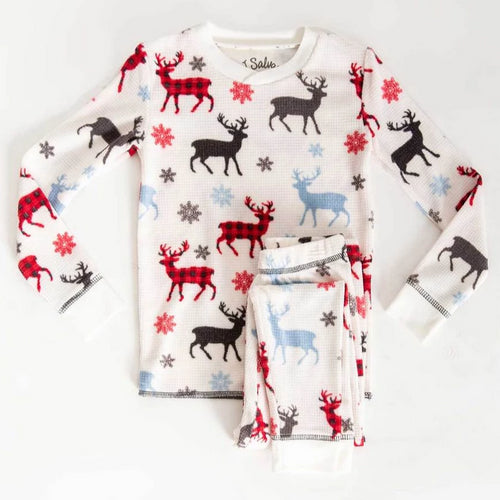 Kid's Pajama Set | Snowy Deer | Ivory