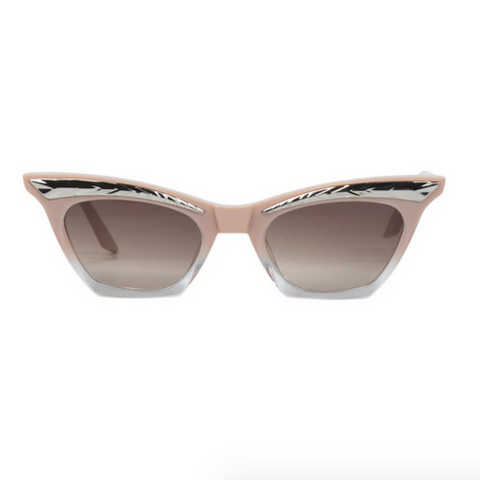 Round Fleck Sunglasses | Black + Mirror Blue