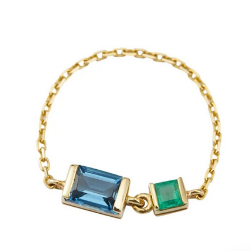 Topaz and Emerald Chain Ring | 18 K Gold | Size 5