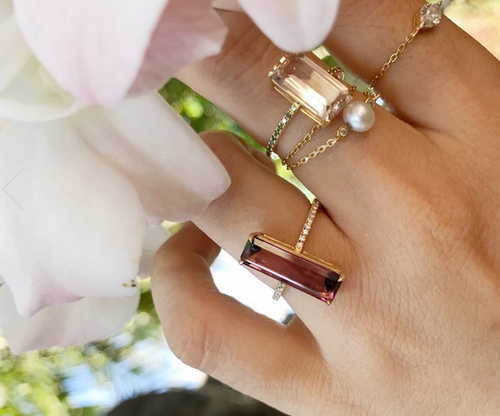 Pink Tourmaline + White Diamond Bar Ring | 18K Gold | Size 6