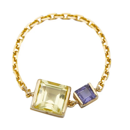 Lemon Quartz & Tanzanite Chain Ring | 18k Gold | Size 6.5
