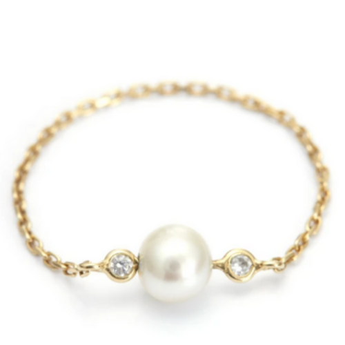 Pearl & Diamond Chain Ring | 14K Gold | Size 6