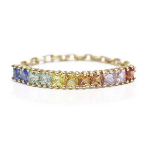 Rainbow Mini Bar Chain Ring | 14k Gold | .79 ct | Size 6