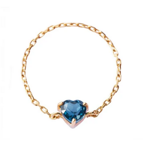 Blue Topaz Heart Chain Ring | 14k Gold | .30ct | Size 3.5