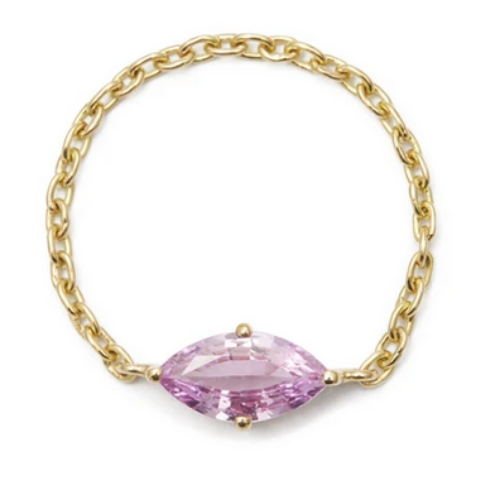 Pink Sapphire Marquise Supreme Chain Ring | 14k Gold | .78 ct | Size 6