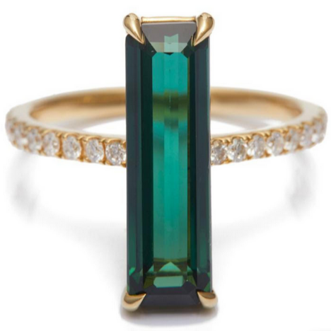 Green Tourmaline and Diamond Bar Ring | 18K Gold | Size 6