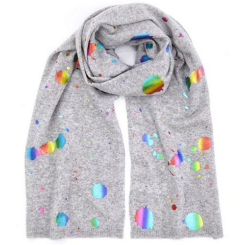 Rainbow Foil Scarf | Grey