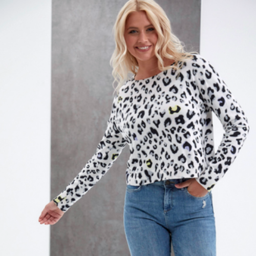 Lucy Leopard Sweater | Cream + Lemon