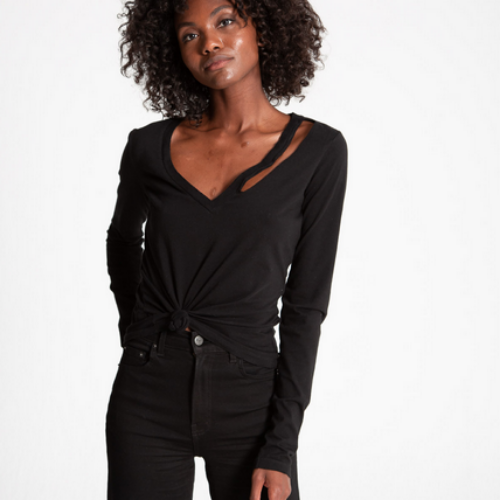 Vicki V-Neck Long Sleeve Top | Black Cat