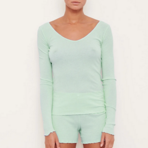 Long Sleeve Boatneck Top | Lime