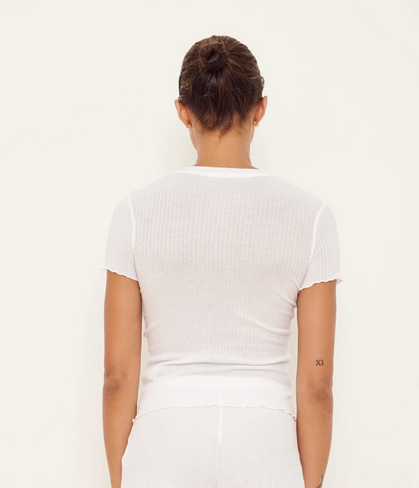 Short Sleeve Crew Top | White